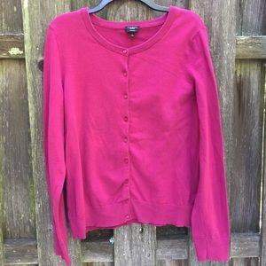 Talbot's Pima Cotton long sleeve hot pink cardigan